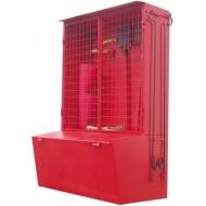 Стенд пожарный металлический неукомплектованный (щит закрытый + ящик для песка 0,5м3 с дозатором) 1800*1300*650мм